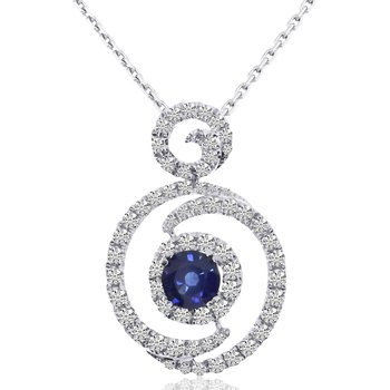 14k White Gold Round Diamond and Sapphire Fashion Pendant