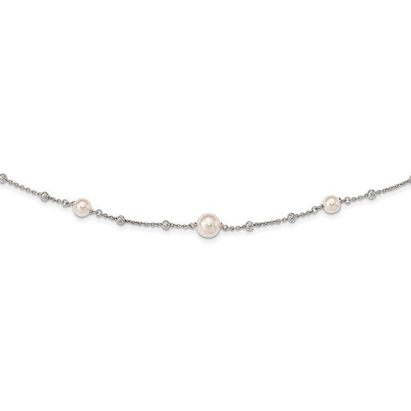 Quality Gold Sterling Silver Diamond-Cut Beads & Swarovski Pearls w/ 1in ext. Necklace