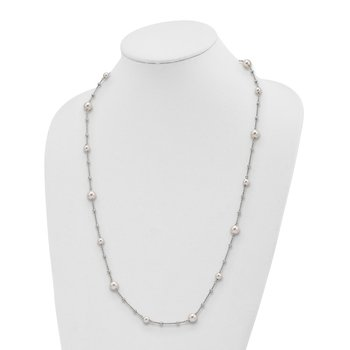 Sterling Silver Diamond-Cut Beads & Swarovski Pearls w/ 1in ext. Necklace