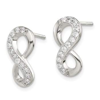 Sterling Silver CZ Infinity Post Earrings