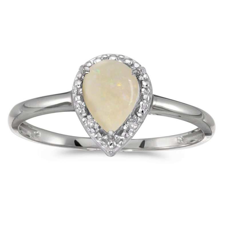 Color Merchants 10k White Gold Pear Opal And Diamond Ring