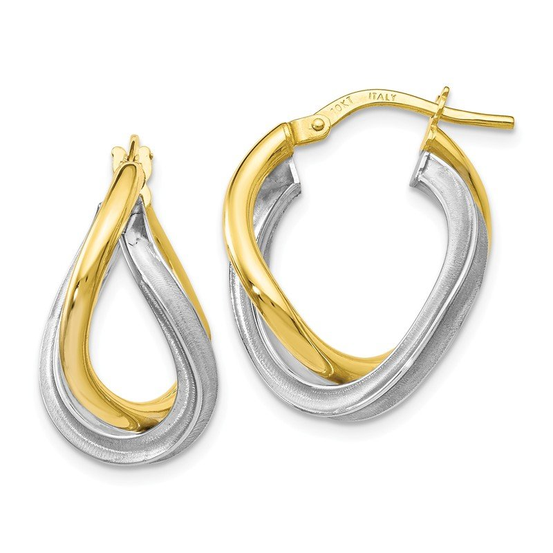 Leslie's Leslie's 10k Two-tone Polished Scratch-finish Hoop Earrings