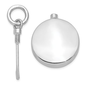 Sterling Silver Rhodium-plated Polished Round Ash Holder Pendant