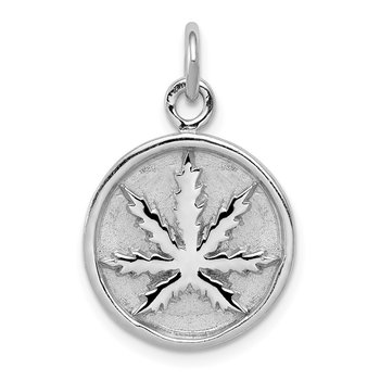 Sterling Silver Rhodium-plated Polished Leaf Pendant