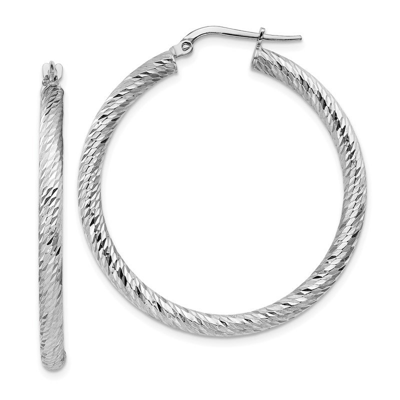 Quality Gold 14k 3x30mm White Gold Diamond-cut Round Hoop Earrings