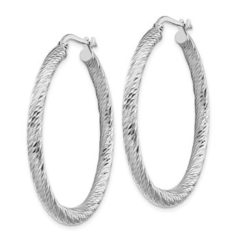 14k 3x30mm White Gold Diamond-cut Round Hoop Earrings