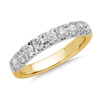 Prong set Diamond Wedding Band 14k Yellow and White Gold (1ct. tw.) HI/SI2-SI3