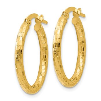 Leslie's 14K Textured Oval Hoop Earrings