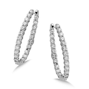Pave set Diamond Oval Reflection Hoops in 14k White Gold (1 1/4 ct. tw.) HI/SI2-SI3