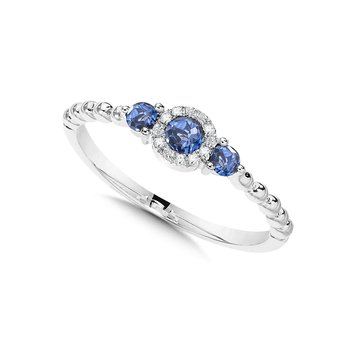 Beaded 3-Stone Halo Diamond and Sapphire Ring