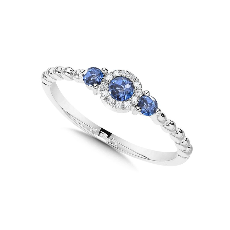 SDC Creations Beaded 3-Stone Halo Diamond and Sapphire Ring