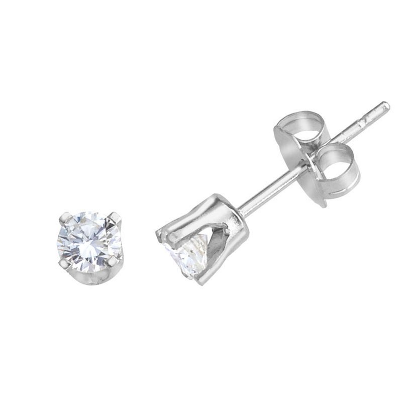 Color Merchants 14k White Gold Round .33 Carat Diamond Stud Earrings