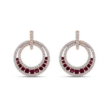 1/2 Ct Diamond with 5/8 Ct Ruby Fashion Earrings
