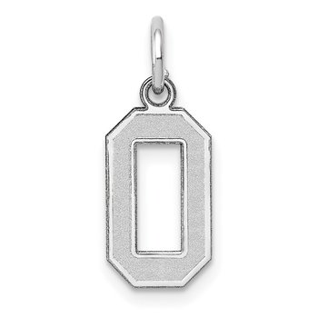 14k White Gold Small Satin Number 0 Charm
