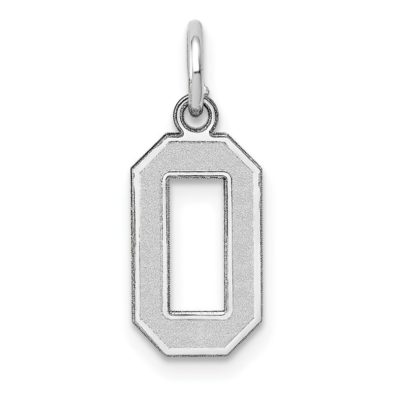 Quality Gold 14k White Gold Small Satin Number 0 Charm
