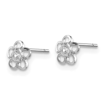 14k White Gold Madi K CZ Flower Post Earrings