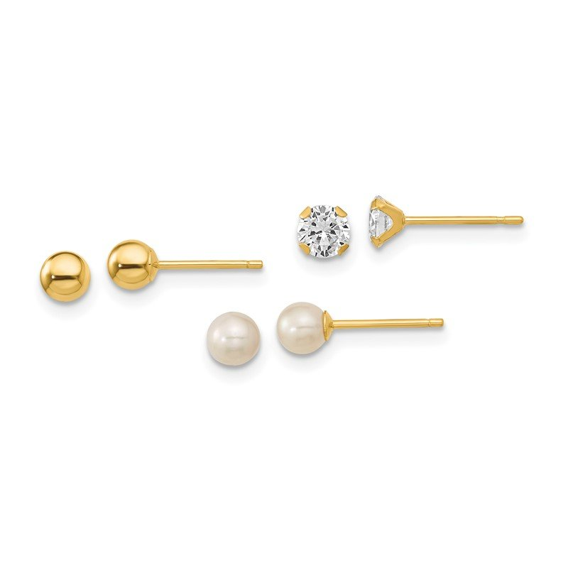 Quality Gold 14k Madi K Ball, CZ & Freshwater Cultured Pearl 3 Pair Earring Set