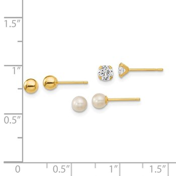 14k Madi K Ball, CZ & Freshwater Cultured Pearl 3 Pair Earring Set