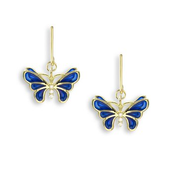 Blue Butterfly Wire Earrings.18K -Diamonds