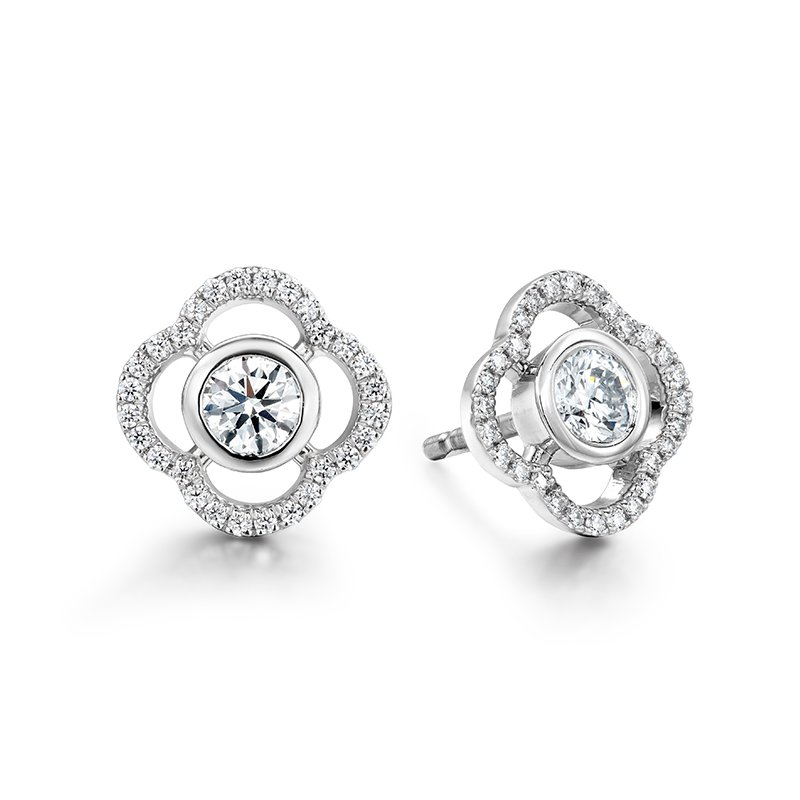 Hearts on Fire Signature Petal Bezel Earrings