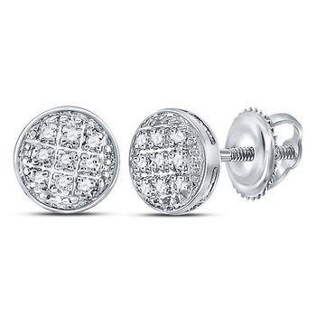 10kt White Gold Mens Round Diamond Circle Cluster Earrings 1/20 Cttw