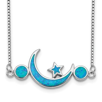 Sterling Silver Rhod-plated Created Opal Moon and Star Necklace