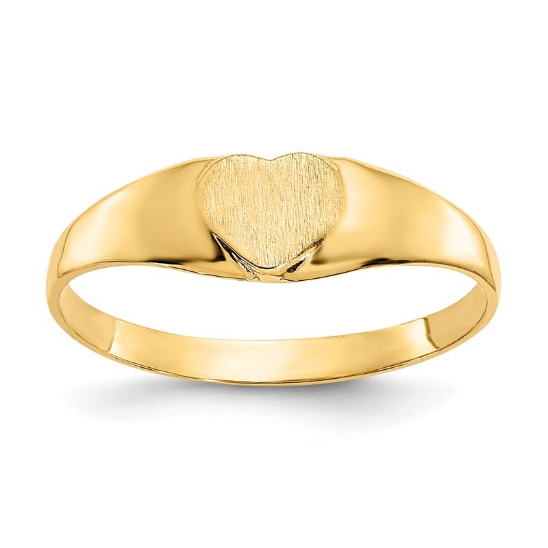 Quality Gold 14k Satin Baby Heart Signet Ring
