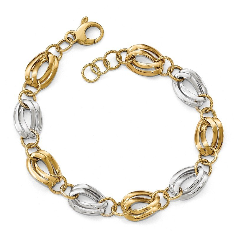Leslie's Leslie's 14K Two-tone Polished D/C Fancy Link Bracelet
