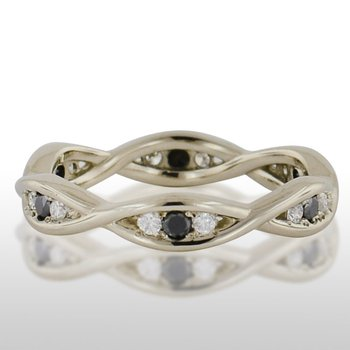 Ladies' White Gold Black and Traditional Diamond Ring