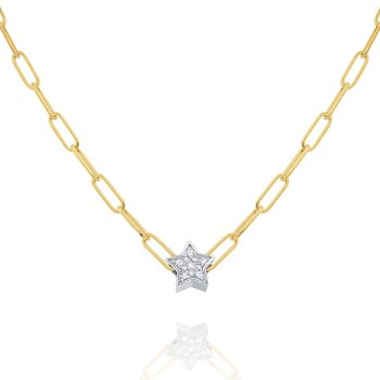 14k Gold and Diamond Mini Star Necklace on Paperclip Chain