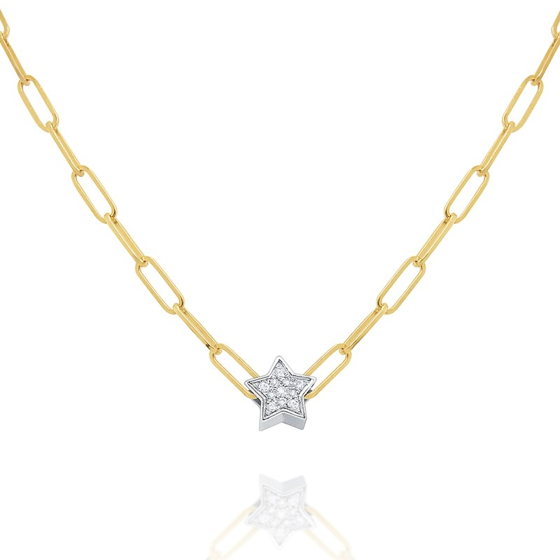 KC Designs 14k Gold and Diamond Mini Star Necklace on Paperclip Chain