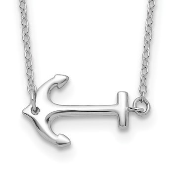 Sterling Silver Rhodium-plated Anchor w/2in ext. Necklace