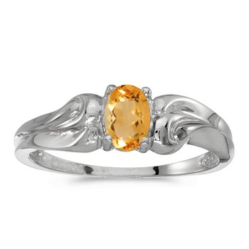 14k White Gold Oval Citrine Ring