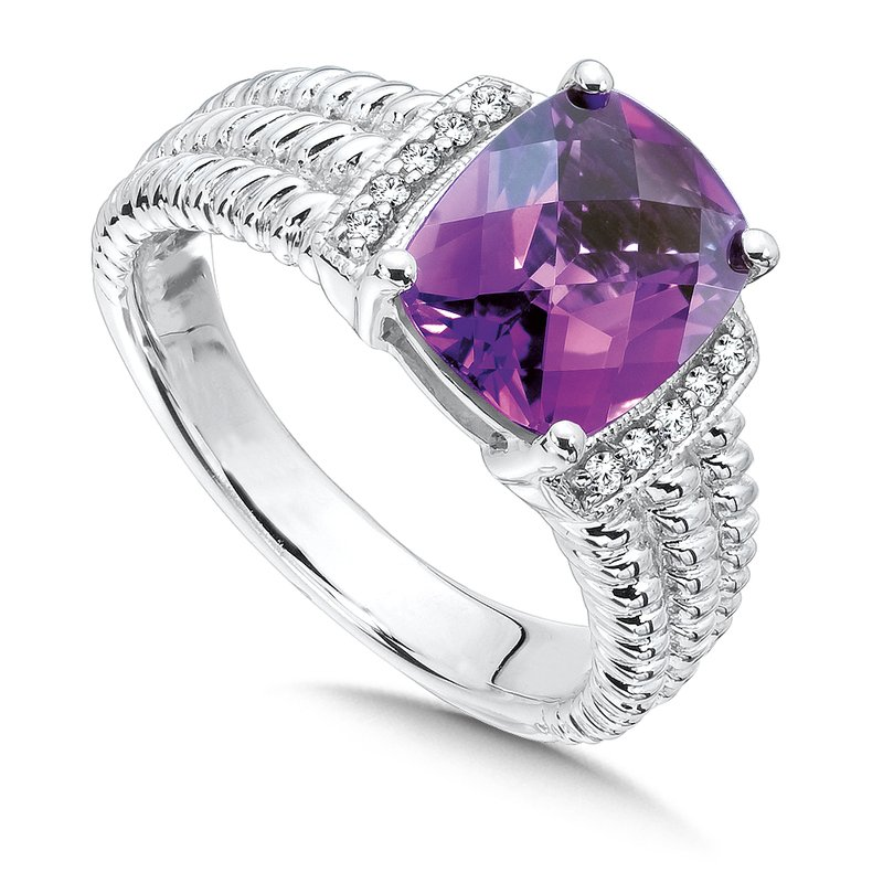 Colore Sg Sterling Silver Amethyst White Diamond Ring
