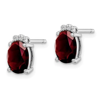 Sterling Silver Rhodium Oval Garnet & Diamond Post Earrings