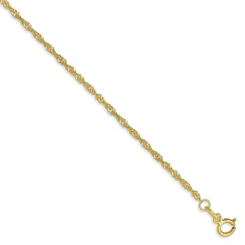 10k 1.4mm Singapore Chain Anklet