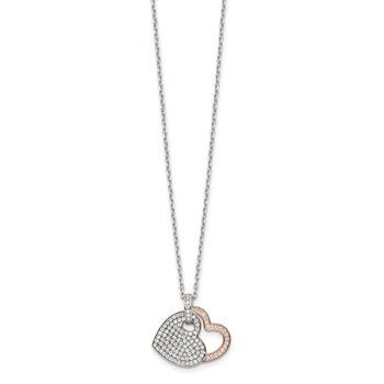 Sterling Silver and Rose-tone CZ Hearts w/ 2in ext. Necklace