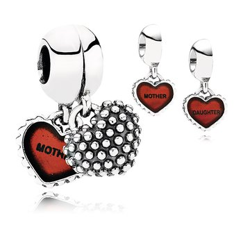 Piece Of My Heart, Daughter, Two-Part Dangle Charm, Red Enamel