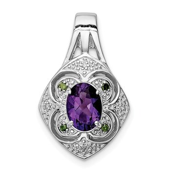 Sterling Silver Rhodium-plated White/Green Diamond & Amethyst Pendant