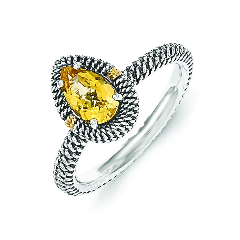 Shey Couture Sterling Silver w/14ky Citrine Pear Shaped Ring