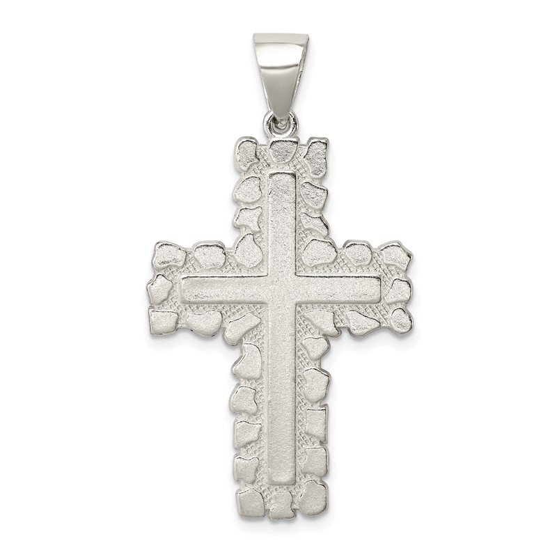 Quality Gold Sterling Silver Polished Outlined Cross Pendant
