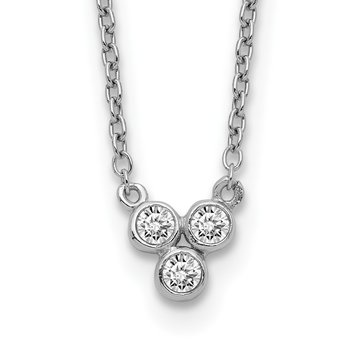 Sterling Silver Rhodium-plated 3-CZ w/ 2in ext Necklace