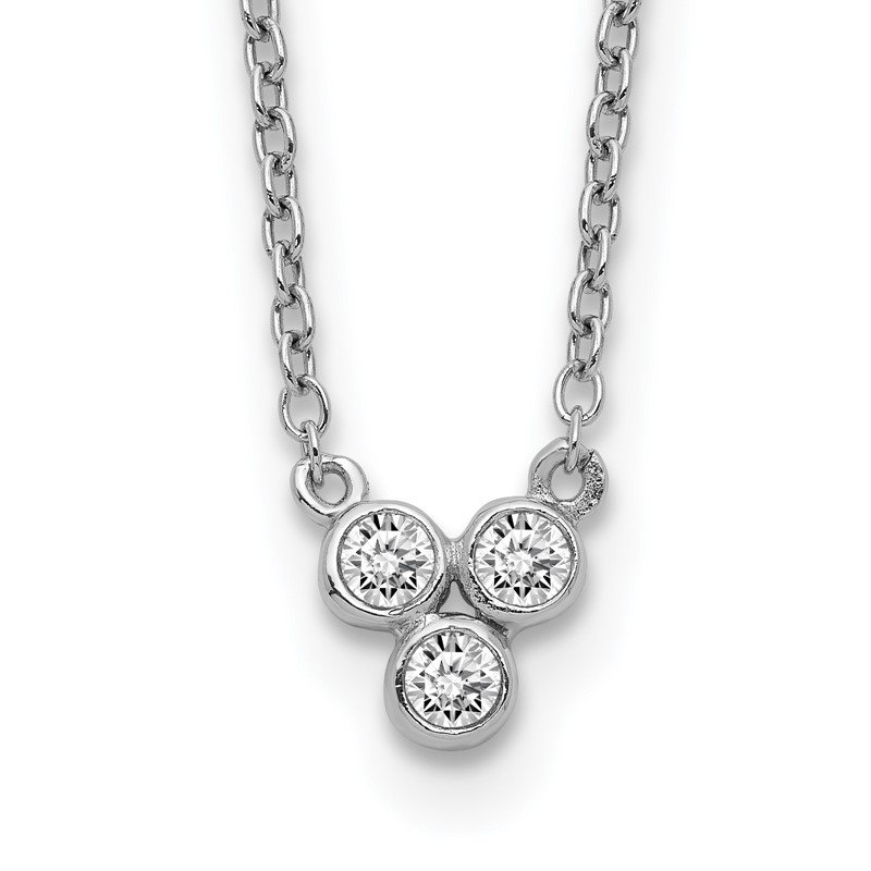 Quality Gold Sterling Silver Rhodium-plated 3-CZ w/ 2in ext Necklace