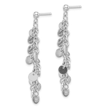 Sterling Silver Rhodium-plated Circle Dangle Post Earring