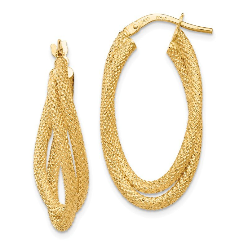 Leslie's Leslie's 14k Textured Fancy Hoop Earrings