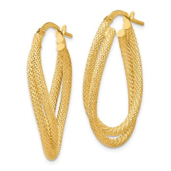 Leslie's 14k Textured Fancy Hoop Earrings