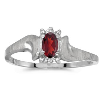 10k White Gold Oval Garnet And Diamond Satin Finish Ring