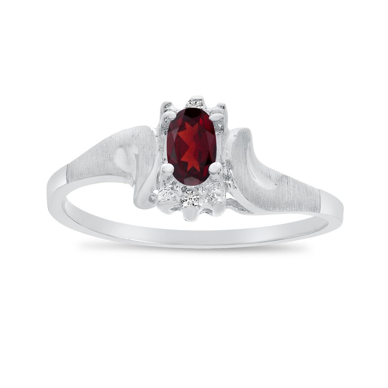 Color Merchants 10k White Gold Oval Garnet And Diamond Satin Finish Ring