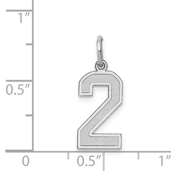 14k White Gold Medium Satin Number 2 Charm