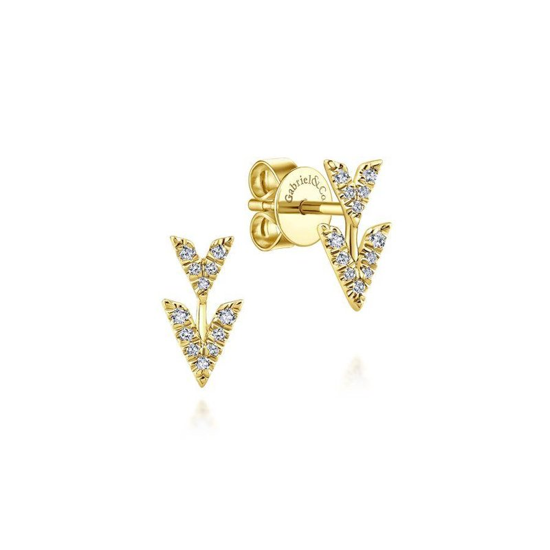 Gabriel Fashion Bestsellers 14K Yellow Gold Double Chevron Diamond Stud Earrings